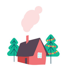 house and winter trees decorated isolated vector image