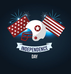 Independence day with american helmet and ribbon vector