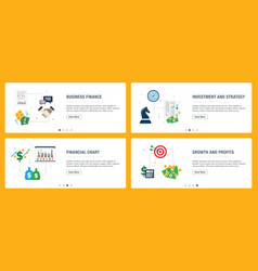internet banner set business finance and vector image