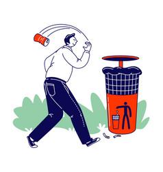 Irresponsible citizen passing litter bin vector