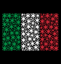 italian flag collage of snowflake items vector image