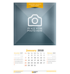 january 2018 wall calendar for 2018 year design vector image