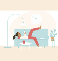 lazy girl lying on a sofa using smartphone vector image