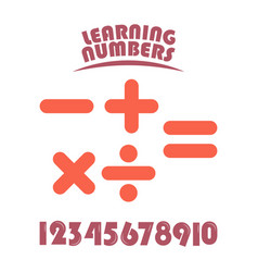 Learning numbers set for kids template design vector