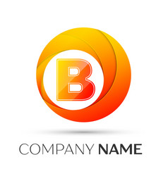 letter b logo symbol in the colorful circle on vector image