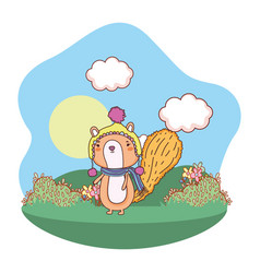 little chipmunk with hat and scarf in the field vector image