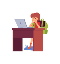 Little girl sitting at desk with laptop drinking vector