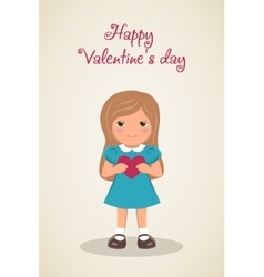 Loving girl with heart in hands vector