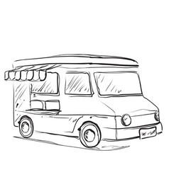 Mobile kitchen lunch van monochrome sketch food vector