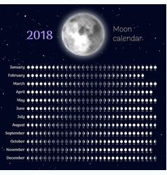 Moon calendar 2018 year vector