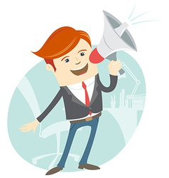 Office man megaphone shouting in front of his vector image