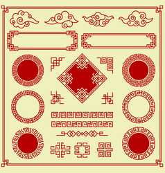 oriental elements ornate clouds frames borders vector image