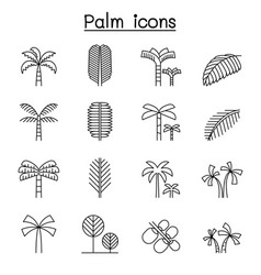 Palm tree coconut trees icon set in thin line vector