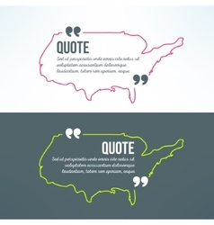 Quotation background with usa map outline vector