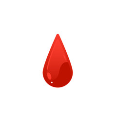 red blood drop icon - cartoon colorful droplet vector image