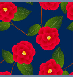 red camellia flower on indigo blue background vector image