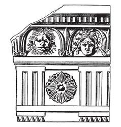 Roman-doric frieze triglyphs in the doric order vector