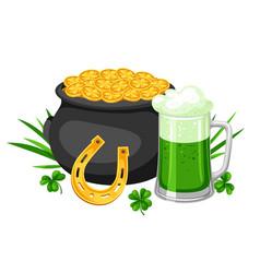 saint patricks day pot beer and vector image