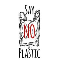 Say no to plastic black white line drawing a vector