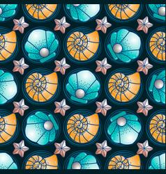 sea inhabitants sea scallop starfish and seashell vector image