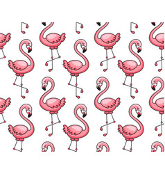 seamless pattern of pink flamingos vector image