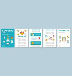 Seasonal job brochure template layout temporary vector