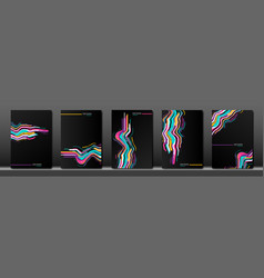 set black cover abstract fluid colorful striped vector image