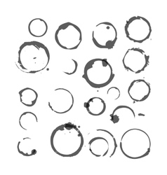 Set black silhouette wine stain circles vector
