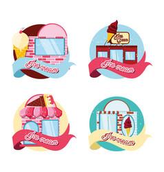 set ice cream shops facades vector image