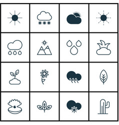 set of 16 ecology icons includes snowstorm bush vector image