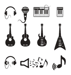 Set of black music icons vector