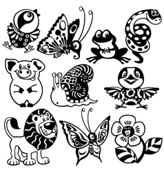 Set of black white animals for children vector