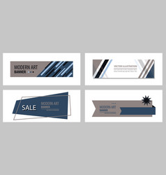 Set of flat linear promotion ribbon banner scroll vector