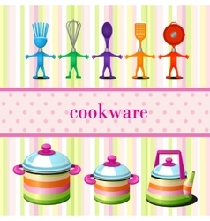 Set of kitchen cookware with space for text vector