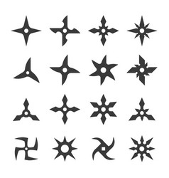 Set shuriken icons traditional japanese ninja vector