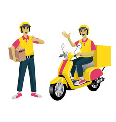 set worker courier service and scooter vector image