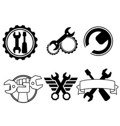 six repair shop logos vector image
