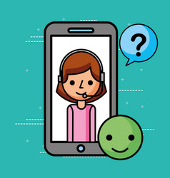 Smartphone agent good questions mark customer vector