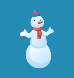 snowman with top hat and scarf isolated on white vector image