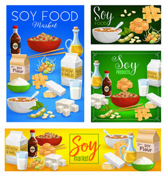 soybean food soy products cartoon posters vector image