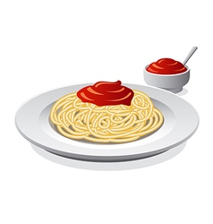 spaghetti with sauce vector image