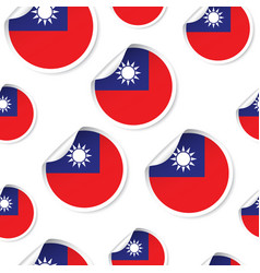 taiwan flag sticker seamless pattern background vector image