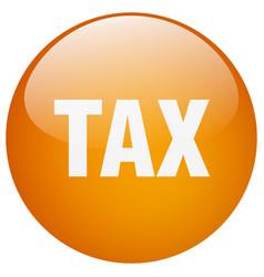 Tax orange round gel isolated push button vector