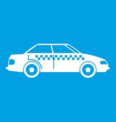 Taxi icon white vector