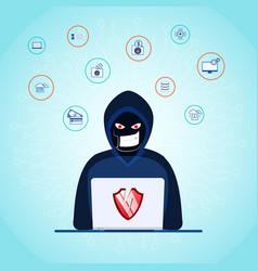 Thief hacker stealing sensitive data as passwords vector