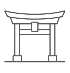 Torii gate thin line icon japan and architecture vector