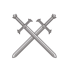 two crossed ancient swords vector image
