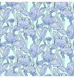 vintage pattern with field iris flowers vector image