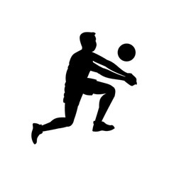 Volleyball player hitting ball male silhouette vector