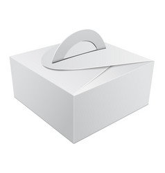 white gift packaging box with handle mockup for vector image